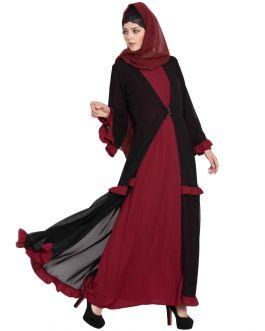 Very Fashionable Abaya|Double Layer Abaya-Maroon&Black