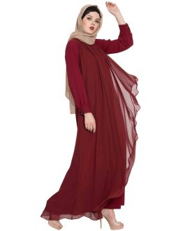 ANEEQA- BEAUTIFUL ABAYA WITH ATTACHED GEORGETTE LAYER-MAROON