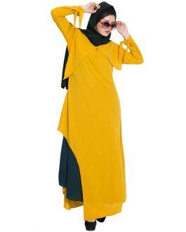 RASHA- ELEGANT DRESS ABAYA WITH CONTRAST LAYER AND MUTIPLE DETAILS-M-G