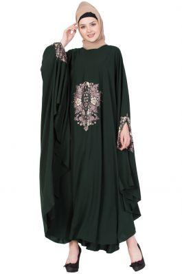 Embroidered Irani kaftan in Free Size - Dark Green-Not An Abaya