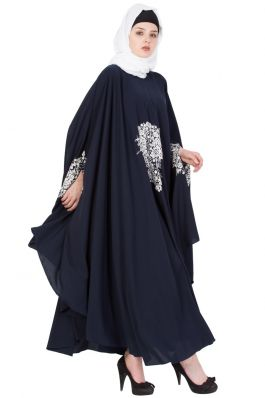 Embroidered Irani kaftan in Free Size - Navy Blue-Not An Abaya