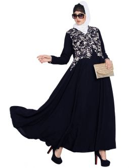 Embroidered Gown With Flared Bottom - Not An Abaya