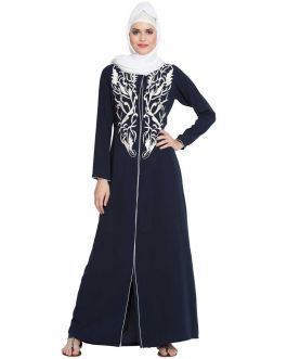 Open Gown With Chikan Embroidery - Not An Abaya