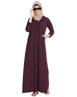 Maroon Abaya with Ruffles|Open Abaya