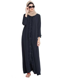 Front Open Abaya With Ruffles