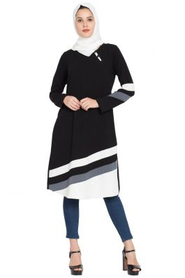 Designer Striped Kurti -Black
