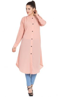 Front Open Kurti with Pleats on Shoulders-Pink