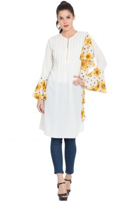 Designer Frilled Kurti with Floral Print-Off White