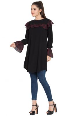 Designer Kurti with Contrast Ruffles and Bell Sleeves-Black