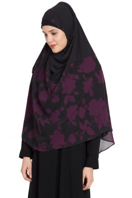Ready to Wear-Instant Hijabs made in Super Fine Georgette-Black Purple