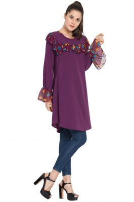 Designer Kurti with Contrast Ruffles and Bell Sleeves-Purple