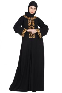 Golden Leaves-Embroidered Dress- Not An Abaya