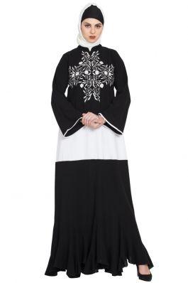 Embroidered Abaya Black Mushkiya.com