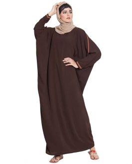 Elegant Kaftan With Contrast Detailing On Sleeves-Dark Brown-Nida