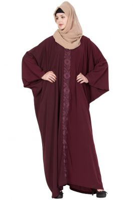 Kaftan Abaya With Embroidery -Maroon