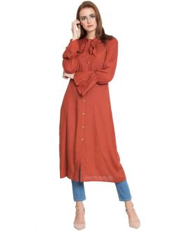 Manah-Bell Sleeves Long Kurti-Rust-Rayon