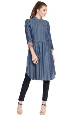 Nisa-Pintuck Tunic-Denim Blue