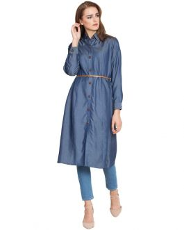 Aima-Long Tunic With Belt-Blue-Silk Denim-Blue