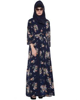 Blue Print-Shrug Abaya